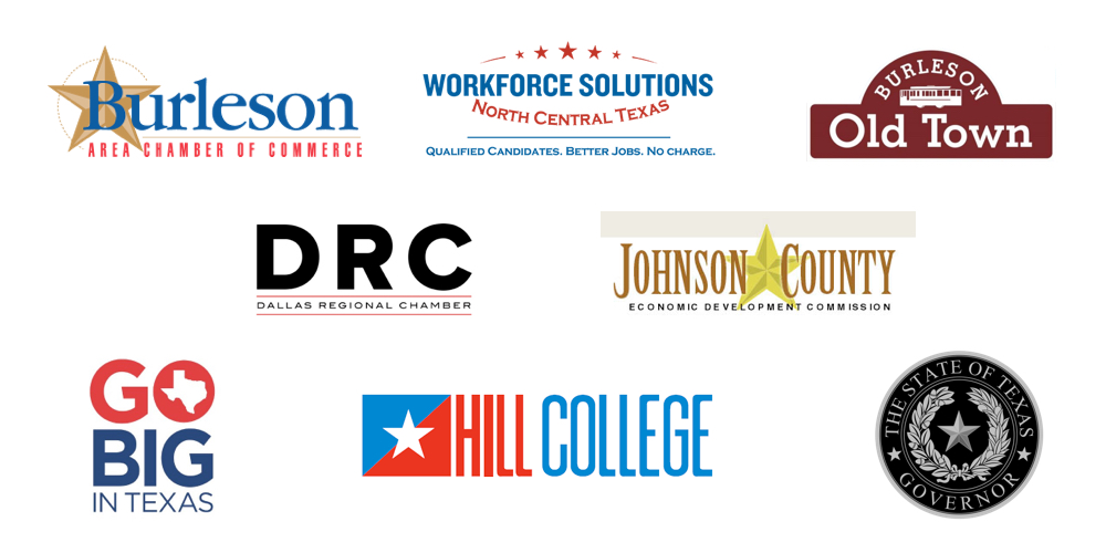 Burleson Community Partners Logos- Burleson Chamber, Workforce Solutions North Central Texas, Burleson Old Town, Dallas Regional Chamber, Johnson County Economic Development Commission, Go Big in Texas, Hill College, and the Governor Office